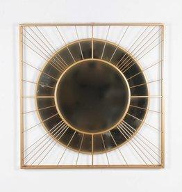 """Miroir rond métal Carré or 33"""""""