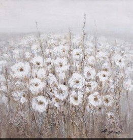 "Toile fleurs blanches fond gris #1 FIELD OF BLOSSOMS I 35"" X 35"""