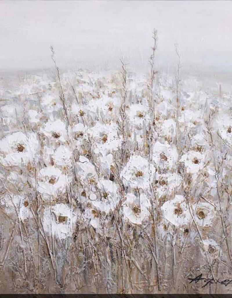 """Toile fleurs blanches fond gris #1 FIELD OF BLOSSOMS I 35"""" X 35"""""""