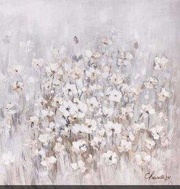 "Toile petites fleurs blanches fond gris STRIKING BEAUTIES 40"" X 40"""