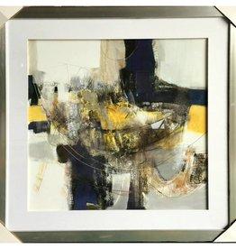 "Toile abstrait gris jaune et noir ROUND TRIP II 30"" X 30"""