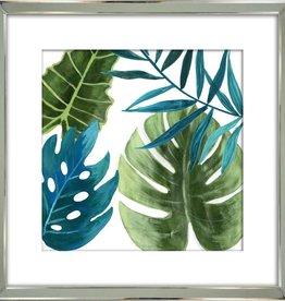 "Cadre fond blanc et feuillage vert #1 TROPICAL LEAVES I 21"" x 21"""