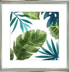 "Cadre fond blanc et feuillage vert #2 TROPICAL LEAVES II 21"" x 21"""