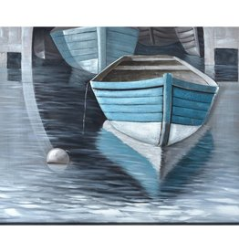 "Toile 2 barques bleues OH BUOY 47"" X 59"""