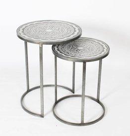 Table ronde métal gris petite
