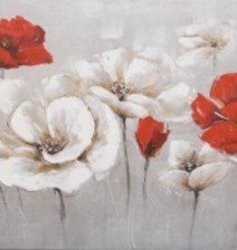 """Toile fleurs rouge 28"""" x 55"""""""