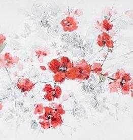 """Toile petites fleurs rouges et gris 28"""" X 55"""""""
