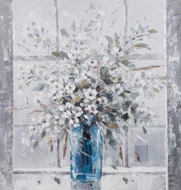 """Toile fleurs dans un vase bleu 40"""" X 40"""""""