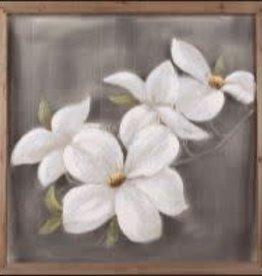 """Toile fleurs blanche sur moustiquaire 31.5"""" X 31.5"""""""