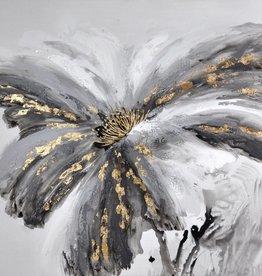 """Toile grosse fleur grise 32"""" x 48"""""""