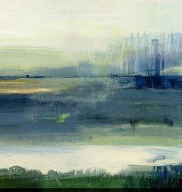 "Toile abstraite vert/bleu Glistening meadow B 24"" x 24"""