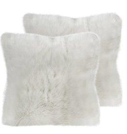 Coussin fourrure blanche 18 x 18