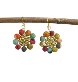 WorldFinds Kantha Sunflower Earrings