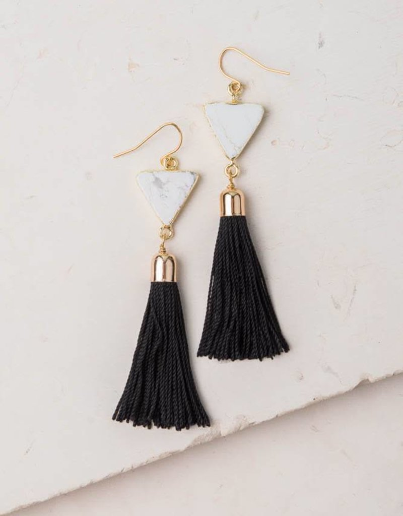 Starfish Project Scout Black & White Tassel Earrings