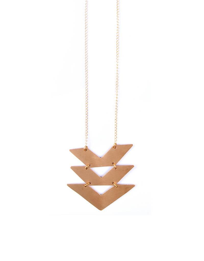 Mata Traders Cropped Chevron Gold Necklace