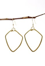Forai Hammered Brass Diamond Earrings