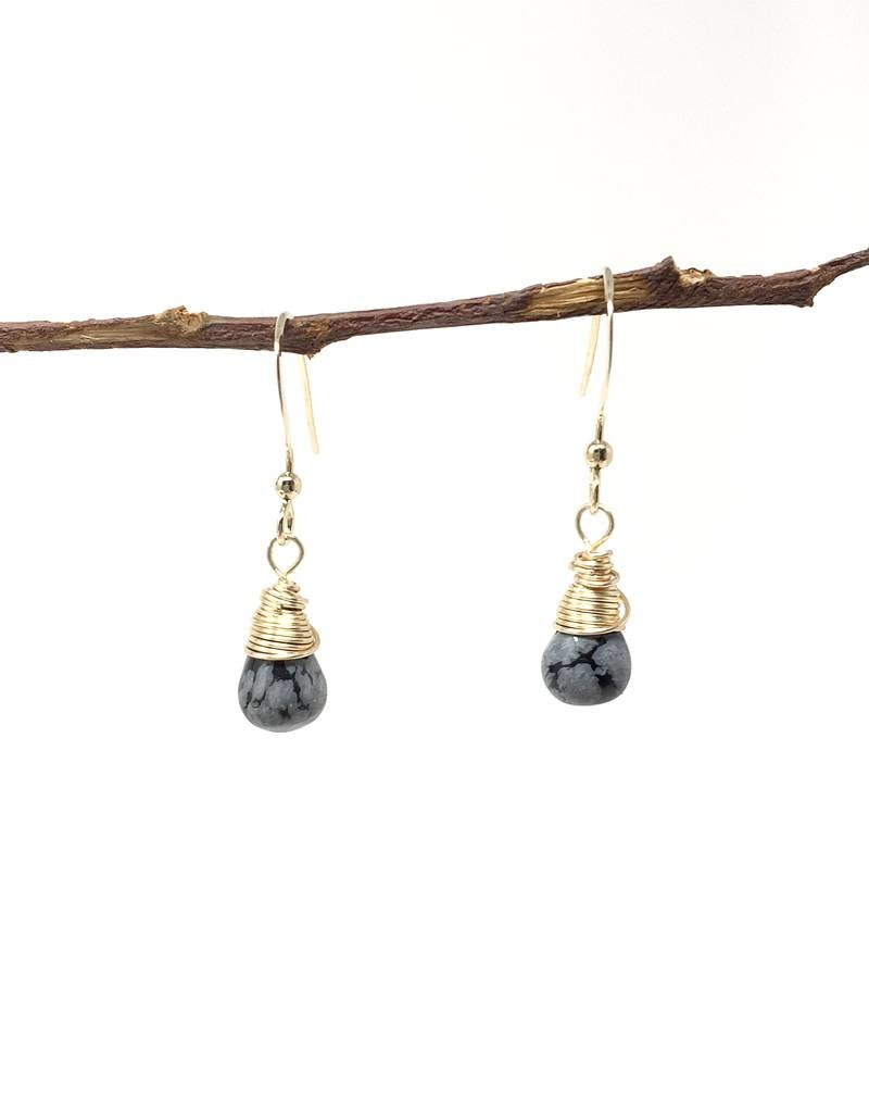 Forai Mingle Drop Snowflake Obsidian Earrings