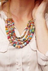 WorldFinds Kantha Bead Four-Tier Necklace