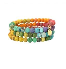 WorldFinds Kantha Rainbow Spiral Bracelet