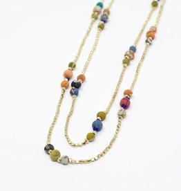 Tara Projects Sari Bead and Brass Necklace