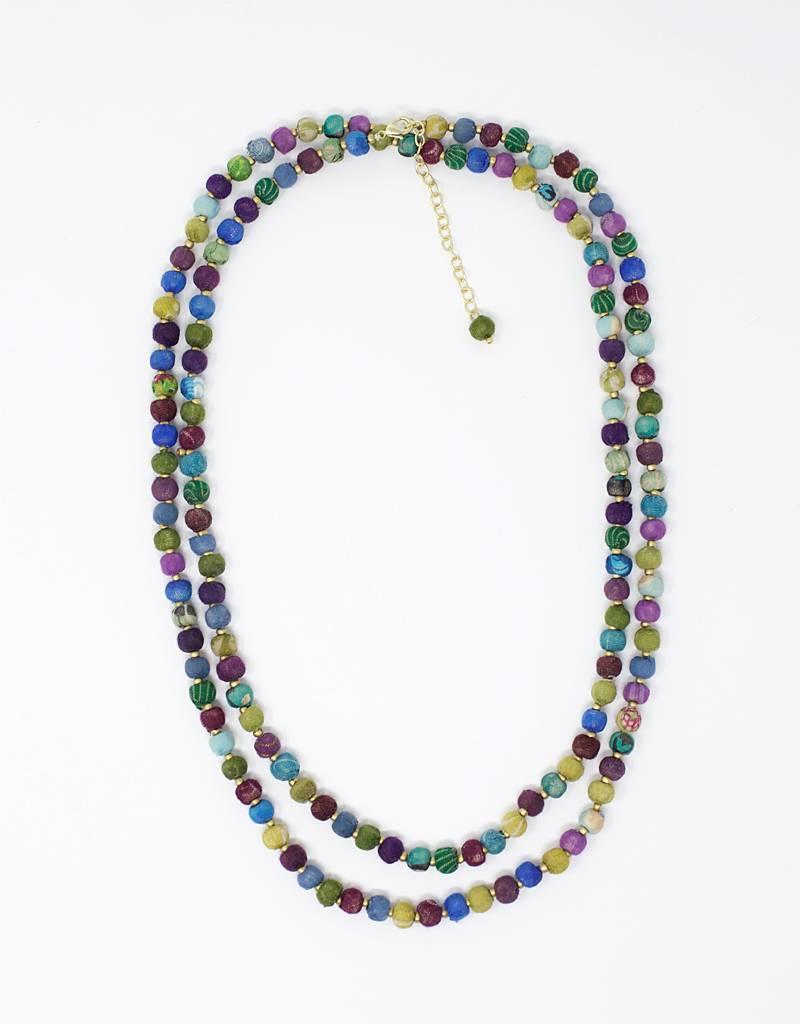 Tara Projects Cool Tones Sari Necklace