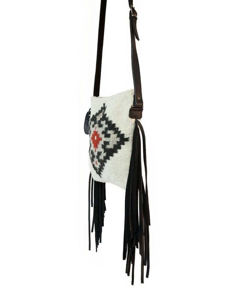 MZ Fair Trade Labyrinth Leather Crossbody Fringe Purse