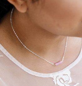 Forai Mingle Collection Rose Quartz Beaded Bar Necklace