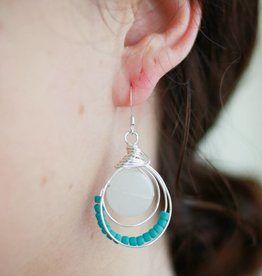 Forai Luzmila Loop White Calcite Earrings