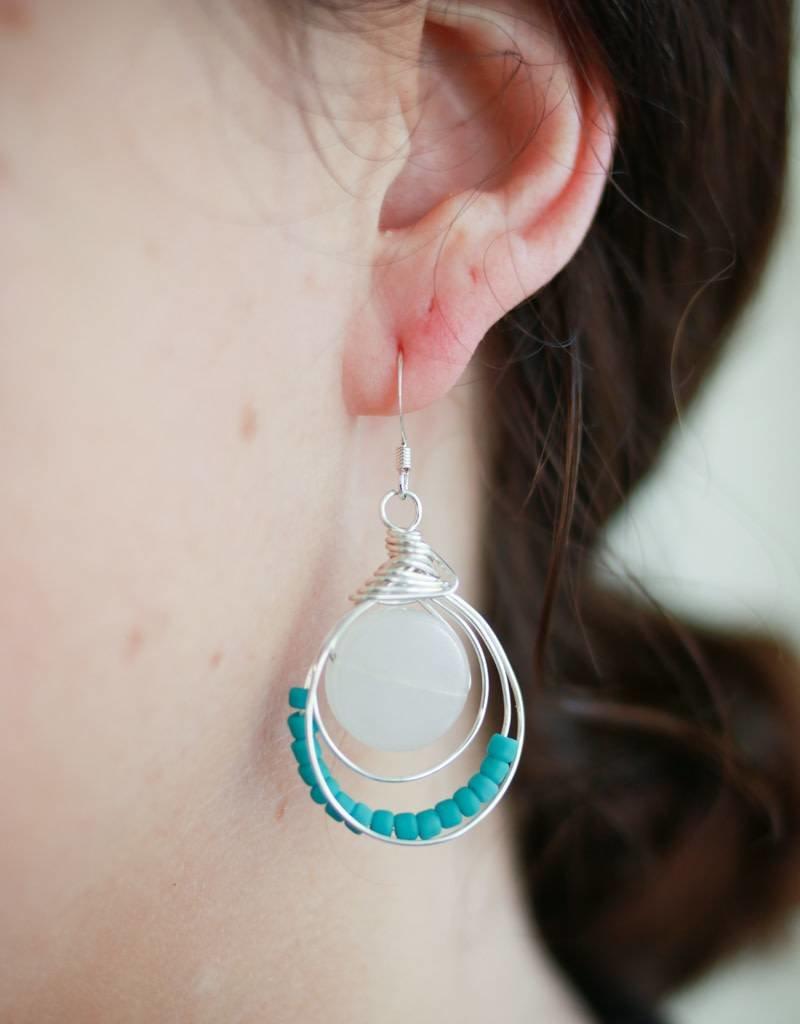 Forai Luzmila Loop White Calcite Earrings