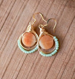 Forai Luzmila Loop Peach Calcite Earrings