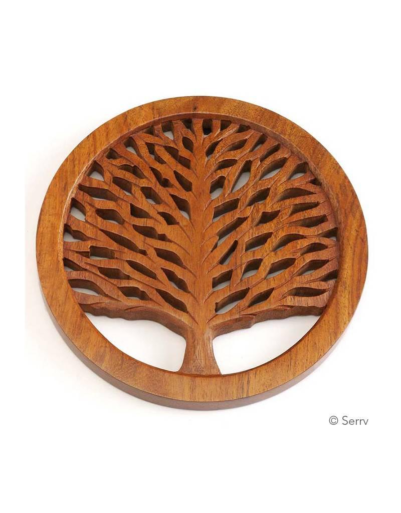 Tree Of Life Shesham Wood Trivet Handmade Humankind Fair Trade