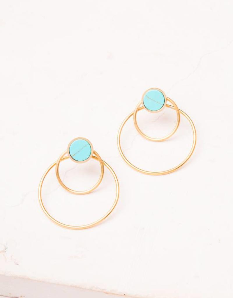 Starfish Project Bothina Turquoise Gold Hoop Earrings