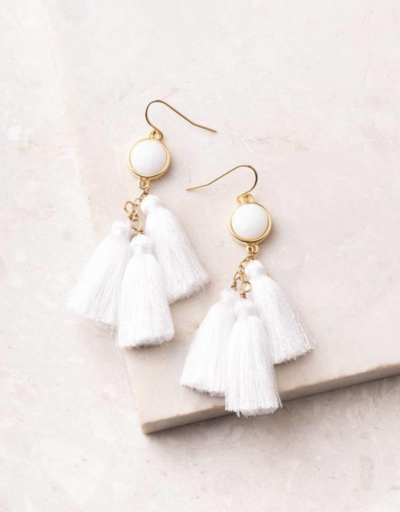 Starfish Project Lucia White Tassel Earrings