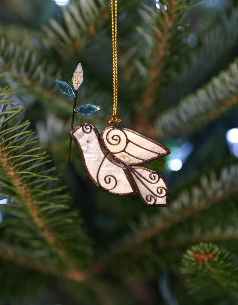 Saffy Handicrafts Dove with Branch Capiz Ornament
