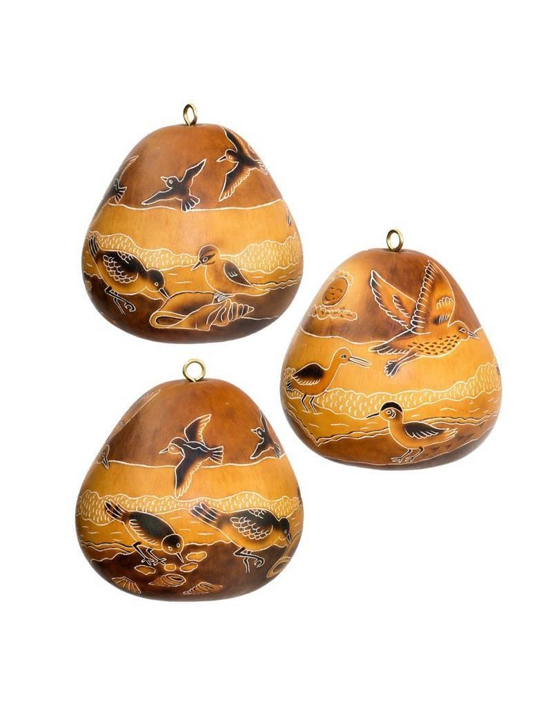Lucuma Designs Coastal Birds Gourd Ornament