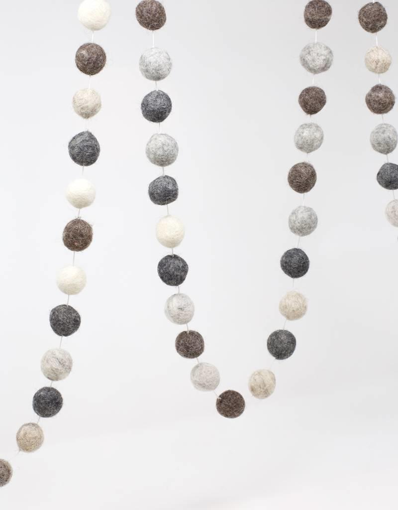 Ganesh Himal Natural Shades Felt Ball Garland