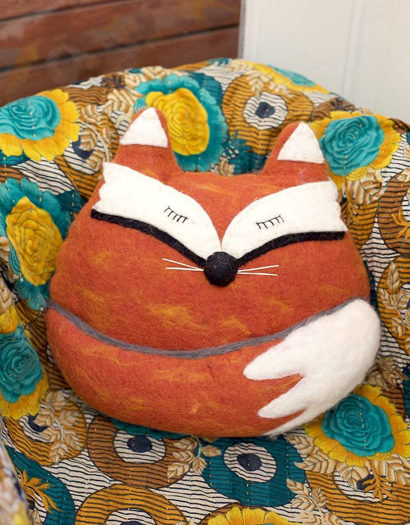 dZi Fox Felted Throw Pillow
