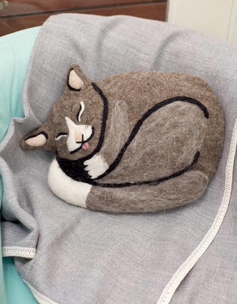 dZi Kitty Felted Throw Pillow