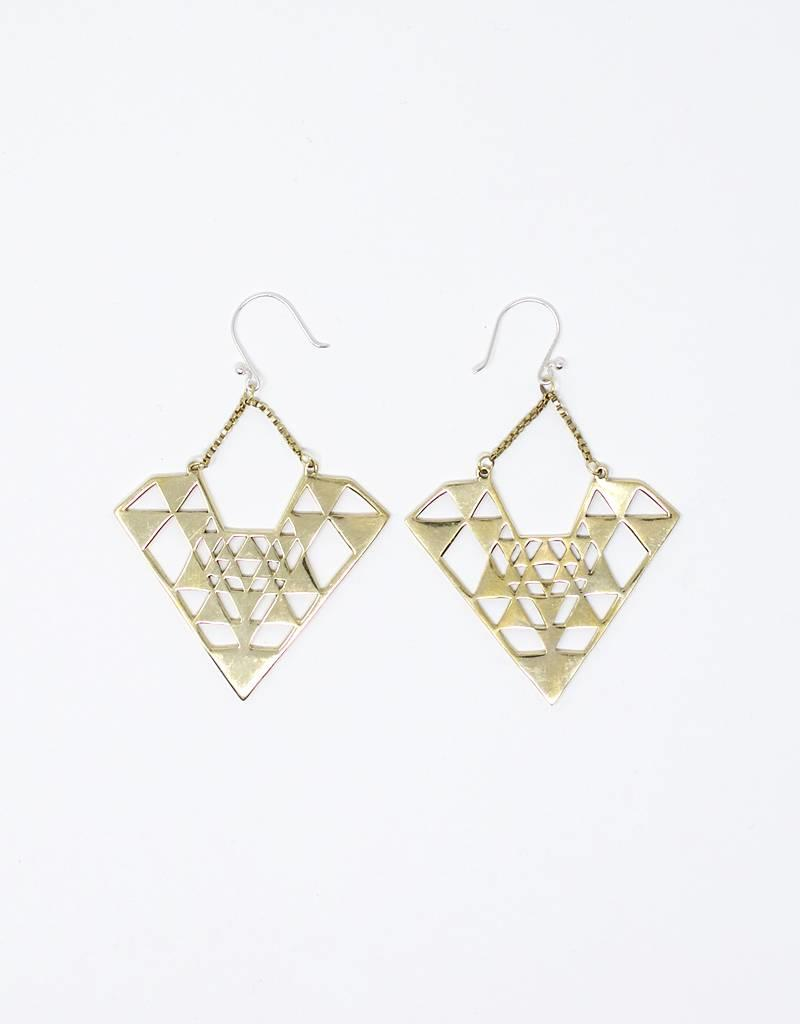 dZi Diamond Yantra Earrings