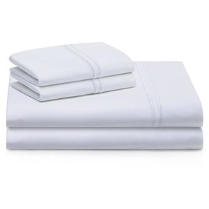MALOUF WOVEN Supima Premium Cotton Sheet Set (White) - Twin