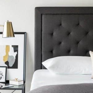 MALOUF STRUCTURES Rectangle Diamond Tufted Upholstered Headboard - Queen