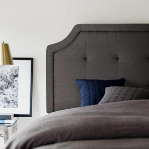 MALOUF STRUCTURES Scooped Square Tufted Upholstered Headboard - Twin