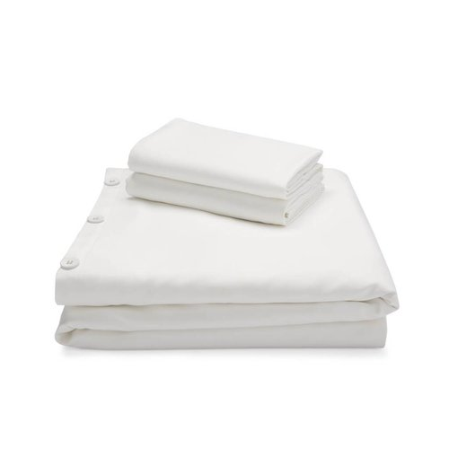 MALOUF WOVEN Bamboo Duvet Cover Set - Queen White