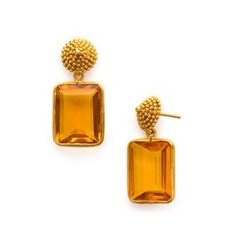 D'Argent Cap & Post Earring Citrine Yellow