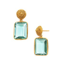 D'Argent Cap & Post Earring  Aquamarine Blue