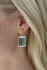 D'Argent Cap & Post Earring  Aquamarine Blue