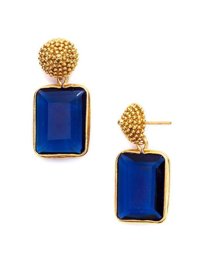 D'Argent Cap & Post Earring Saphire Blue
