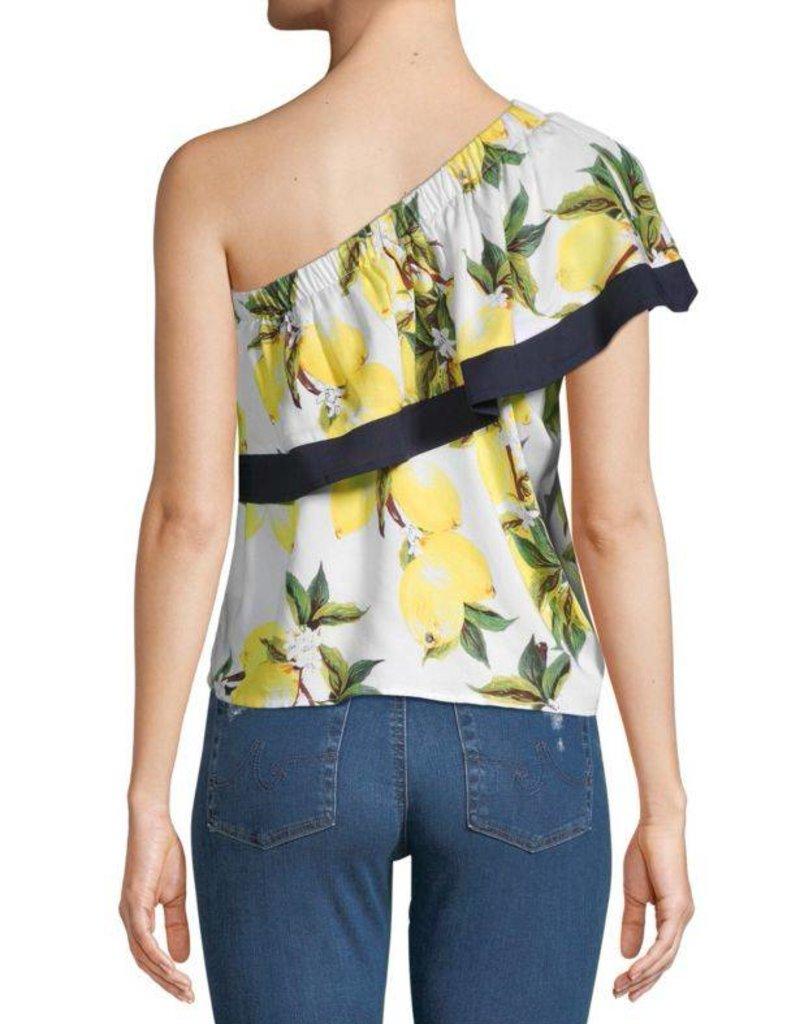 One Shoulder Lemon Print Top