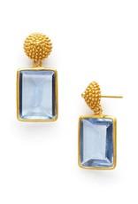 D'Argent Cap & Post Earring  Chalcedony Blue