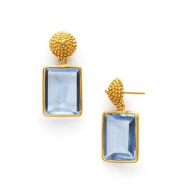 D'Argent Cap & Post Earring  Chalcedony Blue